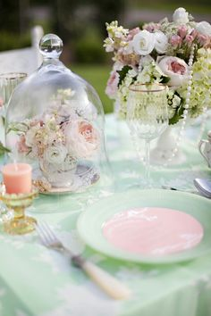 bell jar and vintage tea sets