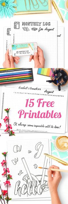 15 Free Printable Pages For Your Bullet Journal August SetUp 2016. Including Hello August, Habit Tracker, Monthly Log, Tasks & Goals, Weekly spreads with different motivational quotes for every week as well as August Memories. // Free Printable August Calendar 2016 Bundle