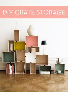Photo: IKEA - Using crates made from plywood, the editors at Livet Hemma, IKEA's blog, created this modern storage installation by giving the crates a few coats of paint and attaching them with binder clips. This storage unit is a space saver that allows extra room to showcase your books and other trinkets.