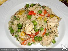 Reispfanne mit Gemüse und Hühnchen