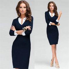Sexy Women Slim 3/4 Sleeve Party Mini Dress Bodycon Pencil Dress Blue S-XXL Hot