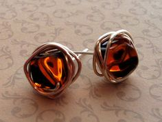 Silver or Gold Wire Wrapped Stud Earrings Tortoise by Meant2Bead, $16.00