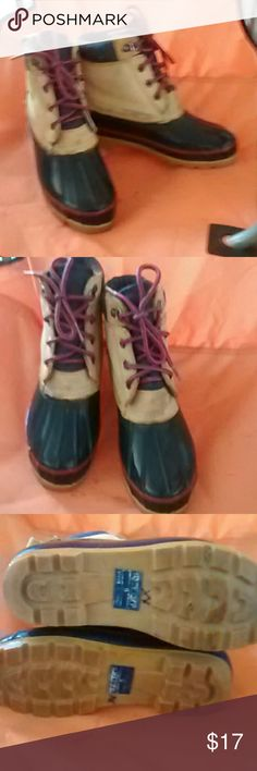Land end blue boots for rain and snow Land ends rain and snow shoes great on a cold rainy day to keep warm and dry. Shoes Lace Up Boots
