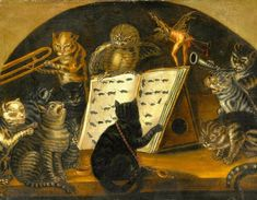 "Lombard School c1700. ""Cats being instructed In the art of mouse-catching by an owl"""