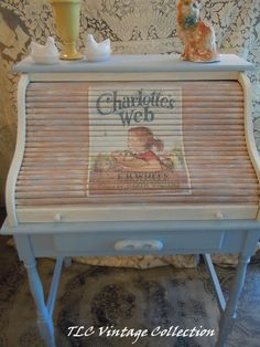 "Library/Nursery: Painted Roll top desk ""Charlotte's Web"""