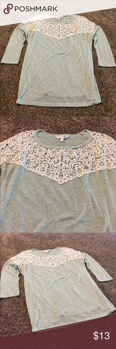 3/4 Mint blouse with lace detail 3/4 Mint blouse with lace detail. Size small. Charming Charlie brand. Mint with white lace across the top, neckline. It's a little see through I'd say, the fabric is. It's in great condition! 100% Polyester Trim is 100% Cotton Charming Charlie Tops Blouses