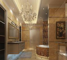 Bathroom. Luxurious Bathroom Light Fixtures Ides With Unique Crystal Chandelier