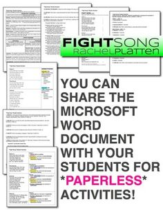 Share the Word files with your students (can be posted online/shared electronically): Teaching theme, figurative language, tone, and other critical-thinking skills with song lyrics.