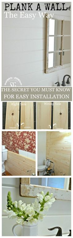 DIY:  How to Install a Planked Wall - using grade 2 tongue and groove fence panels installed backwards.  This post shows how a room was transformed - on a budget - via Stone Gable Blog