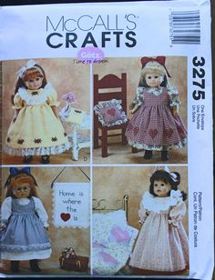 "Sewing Pattern McCall's Crafts Gotz Doll Pattern McCall's 3275 18"" 18 Inch Doll Clothes and Craft Projects Nightgown Quilt Dress Pinafore by PastThatLasts on Etsy"