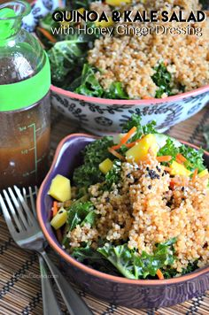 Learn how to make Quinoa & Kale Salad with Honey Ginger Dressing at home! A healthy and easy lunch to make any day of the week!