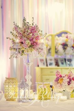 Lovely pink and yellow vintage inspired wedding reception decor; Via Rachel A. Clingen Wedding & Event Design