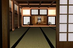 A beautiful interior photo of a traditional Japanese dojo. Very nice use of lighting.