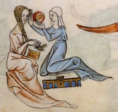 Lady at her toilet ~ Image from 'Luttrell Psalter', c. 1325-1335.