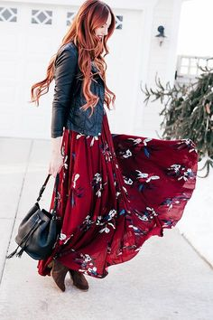 Black moto jacket + Chicwish maroon floral maxi dress by littlejstyle