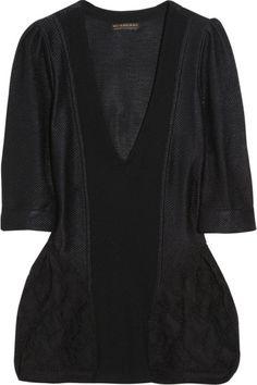 Burberry Prorsum Woven Silk Bustle Sweater in Black