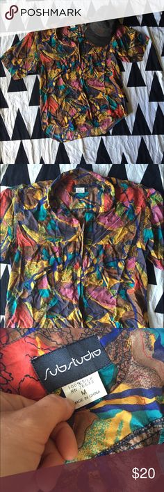 Vintage Men's Silk Shirt Funky 100% silk shirt. Size is a loose medium. Not urban outfitters, used for exposure. Make me an offer! Urban Outfitters Shirts Casual Button Down Shirts