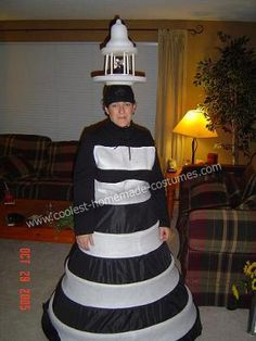 Homemade Lighthouse and Lost Fisherman Couple Costume: My husband loves lighthouses and we have visited quite a few. We also were big LOST fans. So I came up with the idea that I could be the lighthouse and