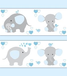 BLUE GREY ELEPHANT Nursery Baby Boy Wallpaper Border Wall Art Decal Gray Stickers Decor Neutral Safari Shower Gift Decorations Jungle Animal #decampstudios