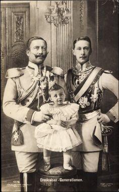 Three generations.  Kaiser Wilhelm II, son Crown Prince Friedrich Wilhelm, and grandson Prince Wilhelm, eldest child of Friedrich.