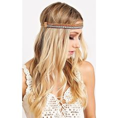 Dakota Aztec Head Wrap ($11) ❤ liked on Polyvore featuring accessories, hair accessories, brown comb, beaded headband, hair combs accessories, hair bands accessories, chain headwrap and brown headband