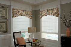 Gently filter light with flat Roman shades featuring a floral print valance. Decor, Sliding Glass Door, Interior, Custom Windows, Flat Roman Shade, Budget Blinds, Designer Shades, Valance, Custom Window Coverings
