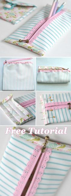 Pretty Lace Zip Pencil Case Tutorial. How-to step by step http://www.free-tutorial.net/2017/09/zip-pencil-case-tutorial.html