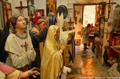 Religious statues made of papier mache'(cartapesta) in a workshop at the historical center of Lecce, Apulia, Salento, Southern Italy.