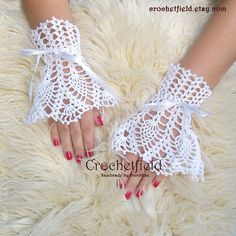 White Wrist Cuffs with satin ribbon, Bridal Accessories, Wedding Jewelry, crochet cuffs - MyStyles Crochet Mittens, Crochet Gloves, Crochet Yarn, Crochet Lace Edging, Crochet Wedding, Fingerless Gloves Knitted, Victorian Lace, Lace Gloves, Wrist Warmers