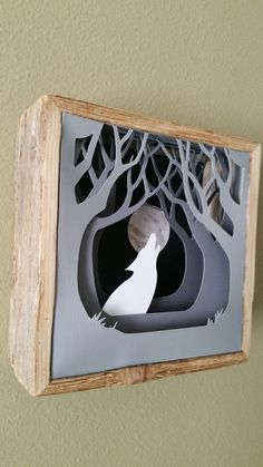 White Wolf and the Moon  3 D paper art on Wooden by WingsOfWood