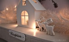 """""""I'm dreaming of a white Christmas"""" ,and about some little reindeers too . Two tiny friends appeared in my Studio today :)"""