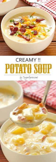 Creamy Potato Soup - Sugar Apron The ultimate in comfort foods. Thick, rich, creamy potato soup that's ready in less than an hour, any night you want it. Sure to warm your heart from the inside on even the coldest winter night. Crock Pot Recipes, Cooking Recipes, Potato Soup Recipes, Creamy Soup Recipes, Easy Creamy Potato Soup, Creamy Potato Bacon Soup, Quick Potato Soup, Cooking Tips, Hamburger Recipes