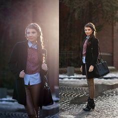 Sheinside Pants, Asos Shirt, Sheinside Coat, Jessica Buurman Boots, Little Mistress Sweater