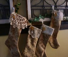 2 Christmas stockings personalized made in old world by NanLouise, $64.00