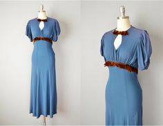 Vintage 30s Dress // 1930s Blue Crepe Gown by OffBroadwayVintage