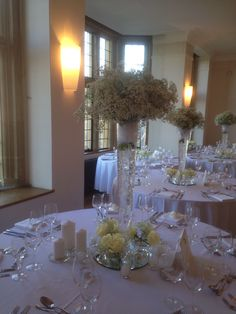 Gypsophila centre pieces at Coombe Lodge  Bijouxfloral.co.uk