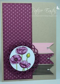 handmade card ... gray base ... deep purple, pink and black papers ... purple poppies ... three flags/banners ...  interesting design ... like it!!