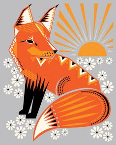 Twilight Fox orange and grey print by hillarybird on etsy #art #poster #graphic
