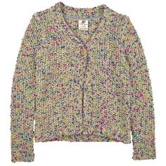 Fancy knit cardigan made of cotton, polyacrylic and polyester blend. V neckline and long sleeves. One button on the neckline. Machine washable at 30°C. - $AU 101