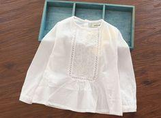Encontre mais Blusas Informações sobre Nova Chegada Do Bebê Meninas Primavera Blusas Brancas…