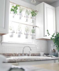 Indoor herb garden ideas, how to create a beautiful garden inside your home! Hadley Court - Interior Design Blog Indoor hanging herb garden, use your windows for natural light. Click to see the rest of the tips in the post.