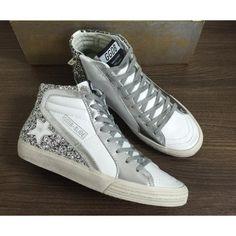 Acquistare Scarpe Golden Goose Slide Uomo Sneakers Glitter Grigio Bianco Saldi