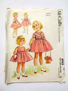 Vintage Sewing Pattern McCall's 4945 (1959) Girls Dress and Jacket - Size 4