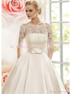 2016 Naviblue Wedding Dresses with Pockets Off Shoulder 1/2 Long Sleeves Plus Size Long Satin Elegant Wedding Gown Vintage Lace Bridal A-Line Wedding Dresses 2016 Bridal Dress Floor Length Bridal Gowns Online with $212.19/Piece on Yahuifang2016's Store | DHgate.com