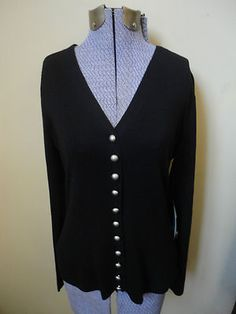 Beautiful Etcetera Carlisle Black Silk Cashmere Cardigan Sweater Silver Buttons M New With Tags $39.99  http://cgi.ebay.com/ws/eBayISAPI.dll?ViewItem=300798842894=STRK:MESE:IT