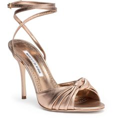 Mumuye 105 Nappa Light Bronze Sandal (€770) ❤ liked on Polyvore featuring shoes, sandals, brown, wrap around sandals, ankle wrap sandals, ankle wrap shoes, manolo blahnik sandals and bronze sandals