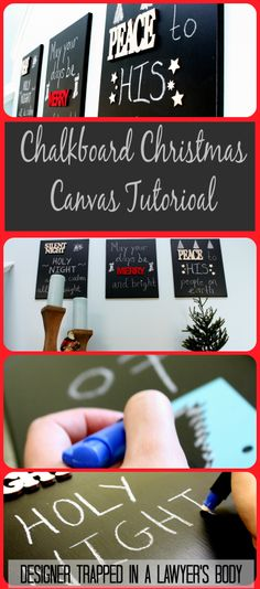 Pin now, read later!  Create chalkboard Christmas canvases for less than 30 bucks in less than 30 minutes!  www.trappeddesigner.blogspot.com