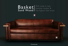 Bemiel Union_Sand Wood Sofa#Italy Leather#Mable Brown#3.5p  www.bemiel.com