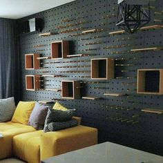 37 Superb Pegboard Design Ideas To Organize Your Room Peg Board Shelves, Peg Board Walls, Peg Boards, Plywood Furniture, Diy Furniture, Furniture Design, Plywood Walls, Furniture Websites, Inexpensive Furniture