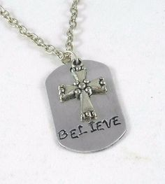 Hand Stamped Mini Dog Tag -Believe with Cross Charm #Handmade #MiniDogTag
